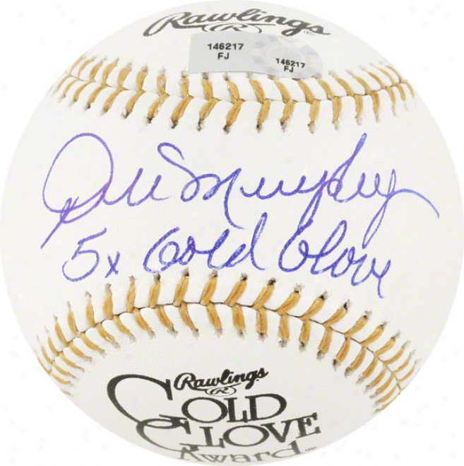 Dale Murphy Autographed Baseball  Details: Gold Glove Baseball, 5x Gold Glove Inscription