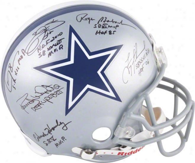 Dallas Cowboys Autographed Pro-line Helmet  Details: 6 Sb Mvp And Hof Signatures, Autyentic Riddell Helmet