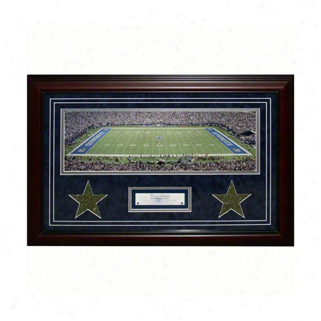 Dallas Cowboys Framed Panoramic Wiht Game Used Race-course & Nameplage