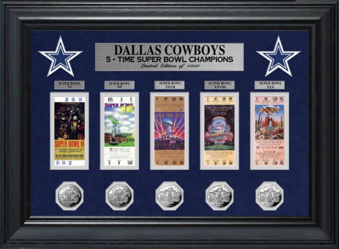 Dallas Cowboys Framed Super Bowl Tickt Anc Game Coin Collection