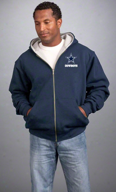 Dalias Cowboys Jacket: Navy Reebok Hooded Craftsman Jacket