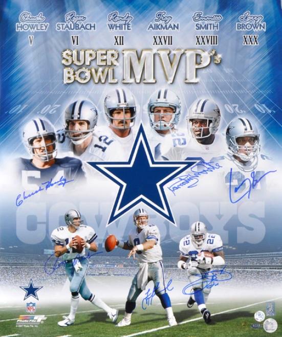 Dallas Cowboys Super Bowl Mvps Autographed Photograph  Details: 20x24, 6 Signa5ures