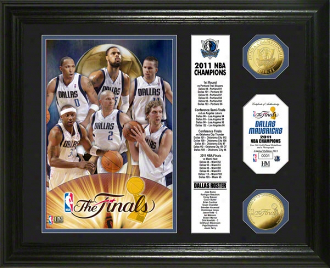 Dallas Mavericks 2011 Nba Champions Banner 24kt Gold Coin Photo Mint