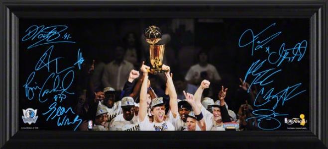 Dallas Mavericks 2011 Nba Champions Framed Mini Panoramic Photo Upon Facsimile Signatures