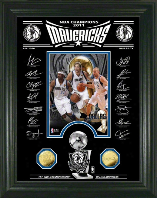 Dallas Mavericks 2011 Nba Champions Signature Etched Glass Photo Mint