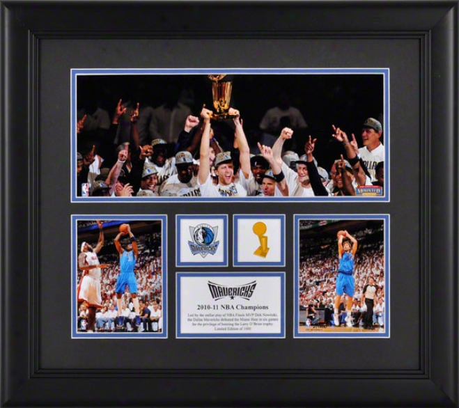 Dallas Mavericks Ftamed 3-photo 2010-2011 Nba Cahmpions Mini Panoramic Collage