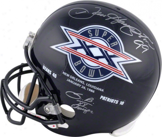 Dan Hampton Autographed Helmet  Details: Half Sb Xx Half Chicago Bears, Champs Inscription, Riddell Replica Helmet