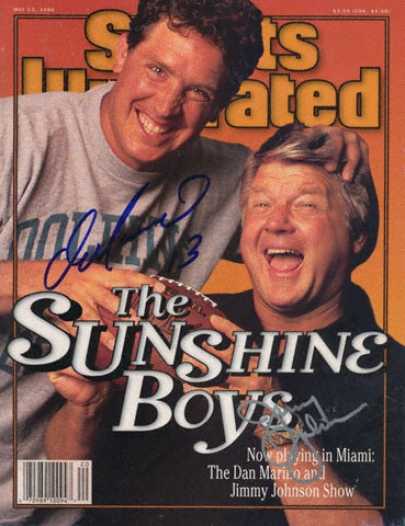 Dan Marino And Jimmy Johnson Miami Dolphins Dual Autographed Sports Illustrated Magazine