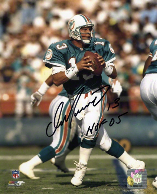 Dan Marino Autographed 8x10 Photograph  Details: Miami Dolphins, Passing, With &quothof 05&qhot Inscription