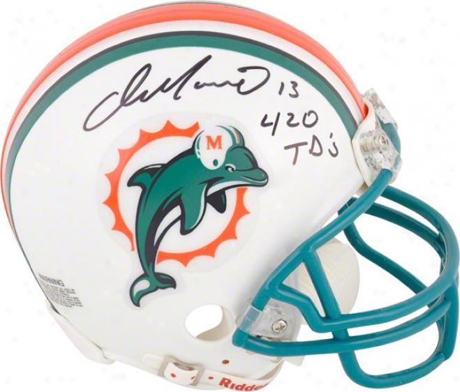 Dan Marino Autographed Mini Helmet  Details: Miami Dolphins, With &quot420 Tds&quot Inscription