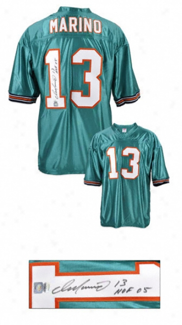 Dan Marino Miaml Dolphins Autographed Custom Jersey With Hall Of Fame 20O5 Inscription