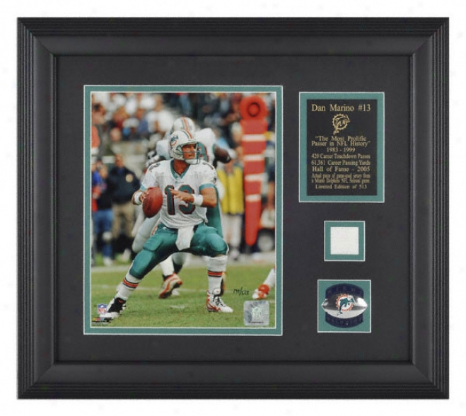 Dzn Marino Miami Dolphinx Framed 8x10 Photograph With Piece Of Game Used Jersey Piece Piece And Descriptive Plate