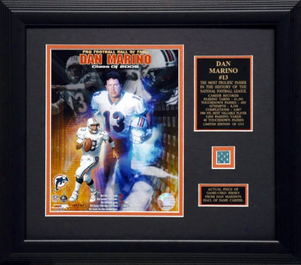 Dan Marino Miami Dolphins - Hall Of Fame Collage - Framed 8x10 Unsigned Photograph With Game Used Jerxey Piece Composition And Descriptive Plate