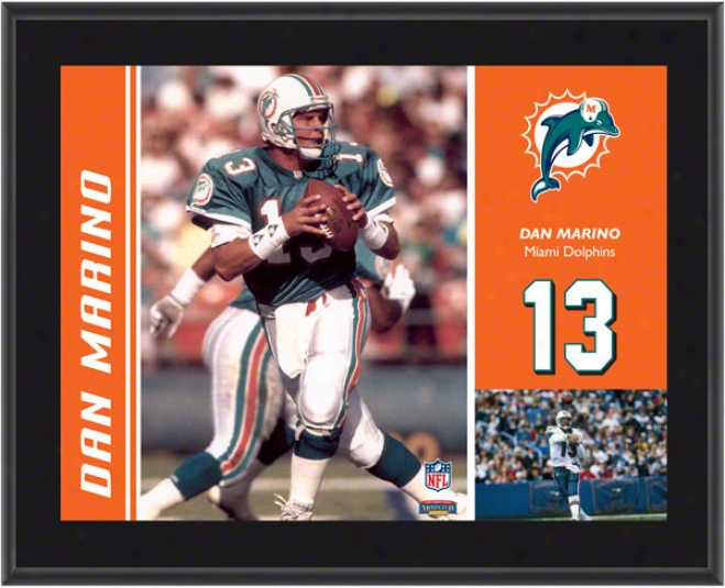 Dan Marino Plaque  Details: Miami Dolphins, Sublimated, 10x13, Nfl Plaque