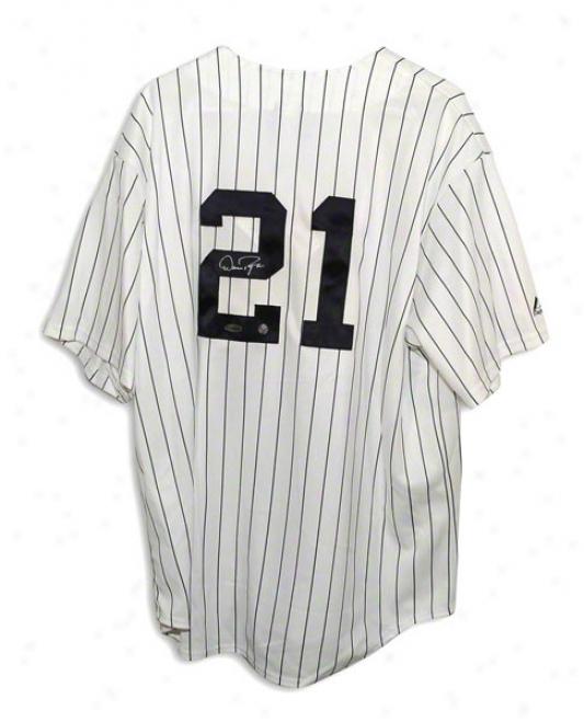 Dan Pasqua Autogrraphed New York Yankees Pinstripe Majestic Jersey