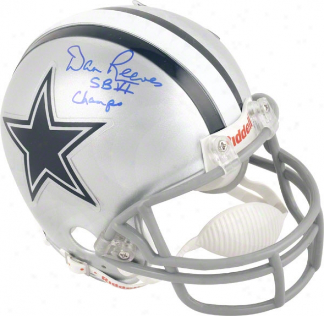 Dan Reeves Dallas Cowboys Autographed Mini Helmet With Sb Vi Champs Inscription