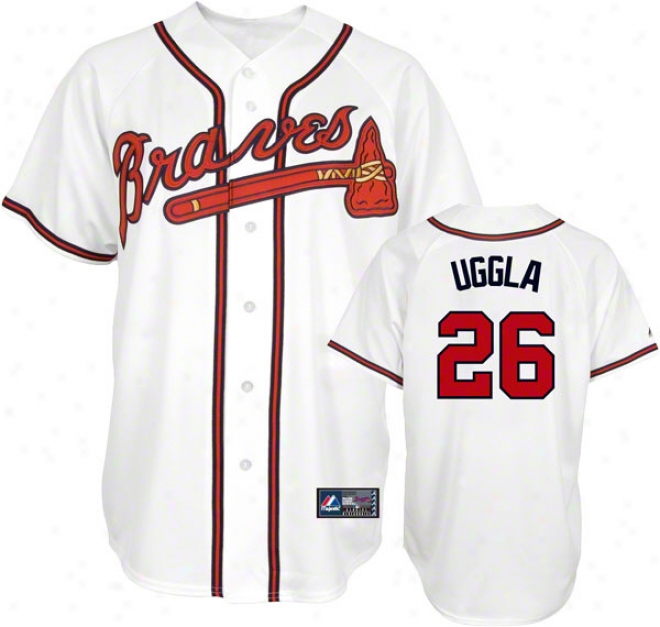 Dan Uggla Jersey: Adult Majestic Home White Replicca #26 Atlanta Braves Jersey