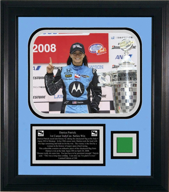 Danica Patrick - 1st Win - Framed 8x10 Ph0tograph With Pece Of Green Flag