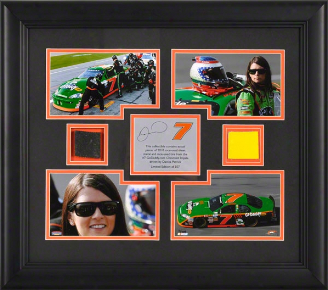 Danica Patrick Framed 4 â€␜ 4x6 Photographs With Race Used Tire And Sheet Metal - Limited Edition Of 507