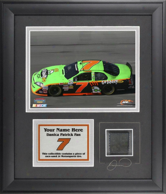 Danica Patrick Framed 6x8 Photo With Tire And Personalized Plate