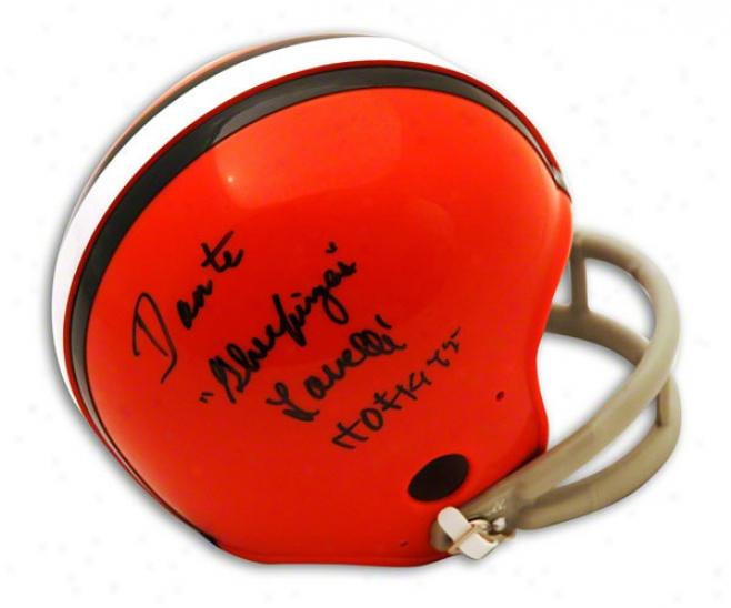 Dante Lavelli Autographed Cleveland Browns Mini Helmet Inscribed Hof 1975 & &quotglue Fingers&wuot