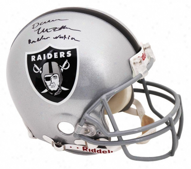 Darren Mcfadden Autographed Pro-line Helmet  Details: Oakland Raiders, With &quotraider Nation&quot Inscription, Authentic Riddell Helmet