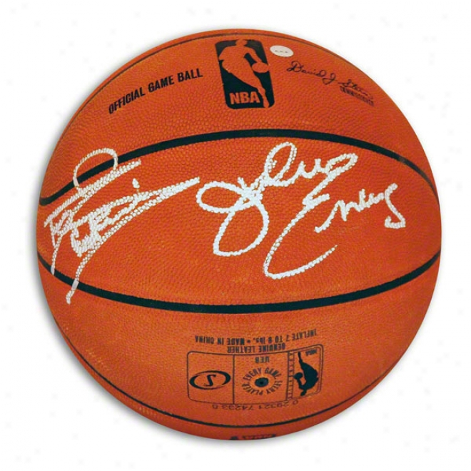 Darryl Dawkins & Julius &quotdr. J&quot Erving Dual Autographed Official Nba Basketball