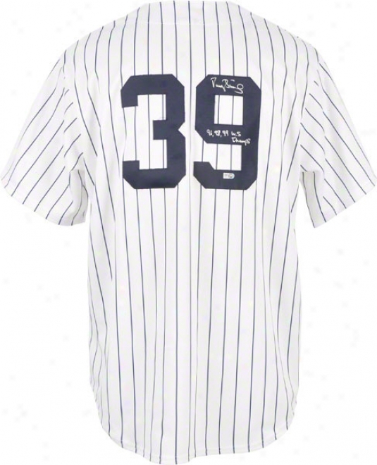 Darryl Strawberry Autographed Jersey  Details: New York Yankees, 96,98,99 Ws Champs Inscription