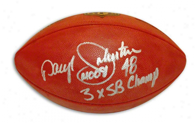Daryl Johnston Autgraphed Nfl Football Inscribef Moose & 3x Sb Champs
