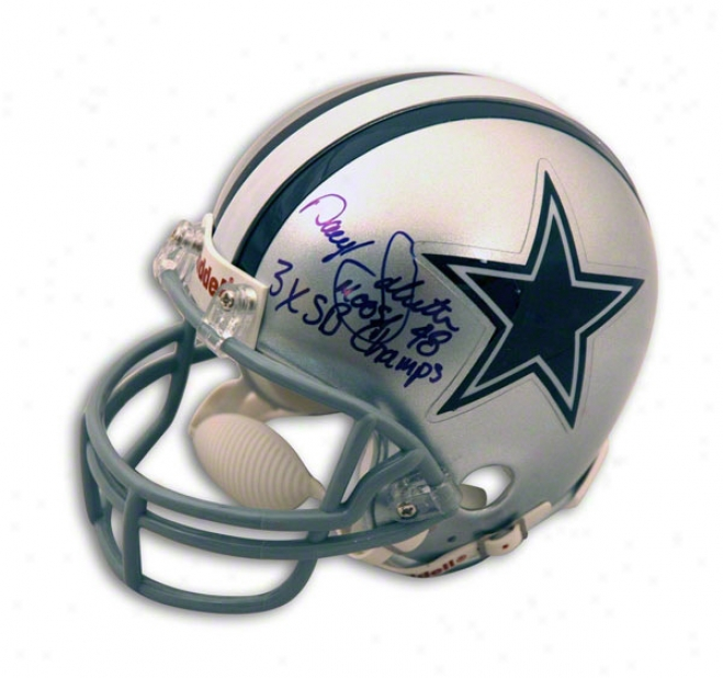 Daryl Johnston Dallas Cowboys Autographed Mini Helmet Inscribed Moose & 3x Sb Champs