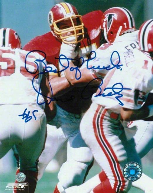 Dave Butz Autographed Photograph  Details: Washington Redskins, Best Of Luck Inscription, 8x10