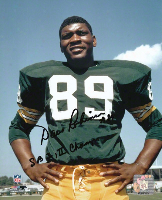Dav Robinson Green Bay Packers Autobraphed 8x10 Photograph With Sb I,ii Champs Inscripti0n