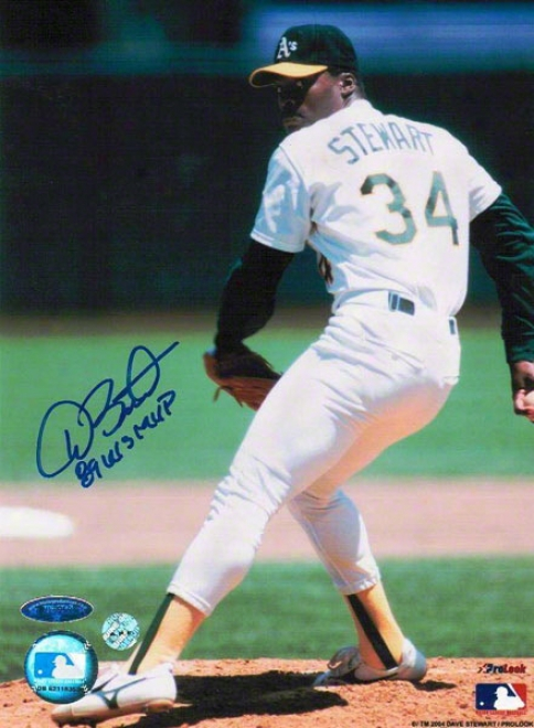 Dave Stewart Autographed Oakland Athletics 8x10 Photo Inscribed &quot89 Ws Mvp&quot