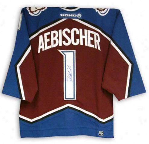David Aebischer Autographed Jersey  Details: Colorado Avalanche, Burgundy
