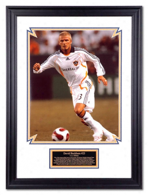 David Beckham Los Angeles Galaxy Frzmed 16x20 Photograph With Descrlptiev Plate