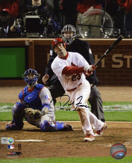 David Freese Autographed 8x10 Photograph  Details: St. Louis Cardinsls, 2011 World Series Champions, Game 6 Hr, With &quot11 Ws Mvp&quot Inscription