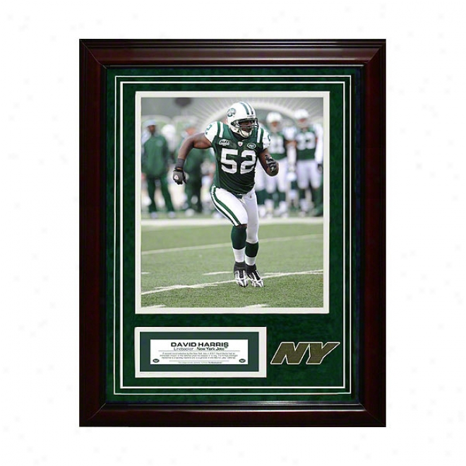 David Harris New York Jets 11x14 Framed Collage With Game Used Turf Photo & Nameplate