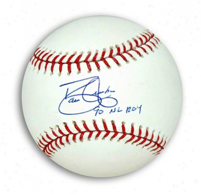 David Justice Autographed Mlb Baseball Inscribed &quot90 Nl Roy&quot