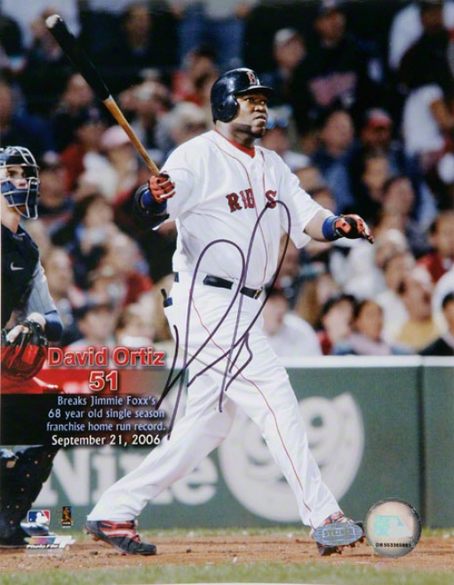 David Ortiz Boston Red Sox - 51st Hr Swing - Autographed 8x10 Photograph