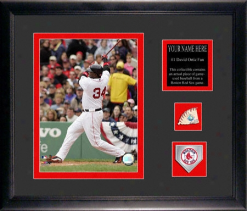 David Ortiz Framed 6x8 Photogrraph With Personalized Plate, Game Used Baseball Piece And Team Medallion