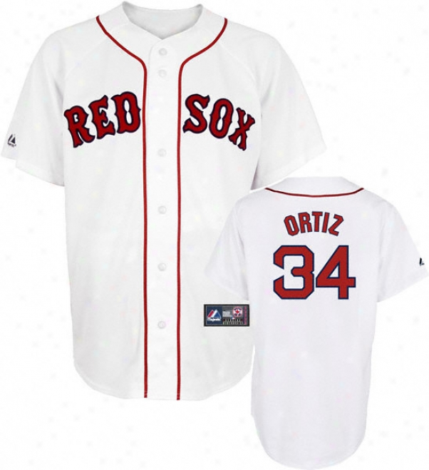 David Ortiz Jersey: Adult Majestic Home White Replica #34 Boston Red Sox Jersey