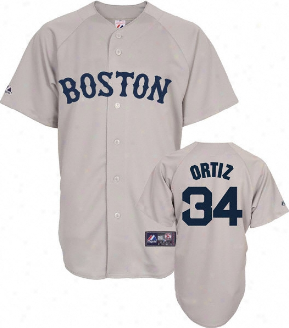 David Ortiz Jersey: Adult Majestic Road Grey Replica #34 Boston Red Soox Jersey