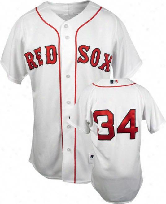 David Ortiz White Majestic Trustworthy Home On-field Boston Red Sox Jersey