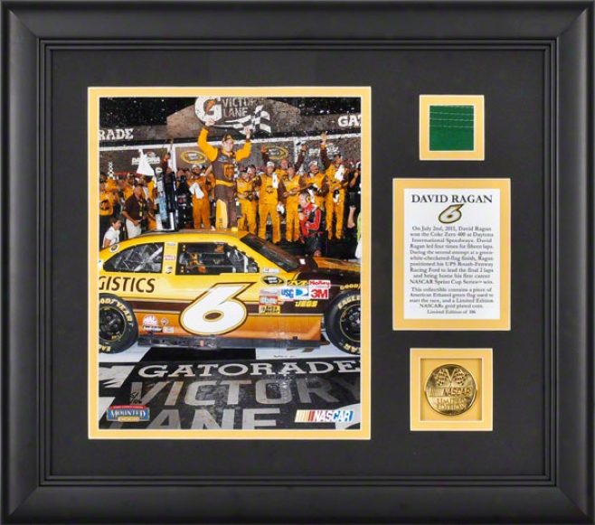 David Ragan Framed 8x10 Photograph  Details: 2011 Coke Zero 490 Winner, With Gold Coin And Flag - Limited Edition Of 106