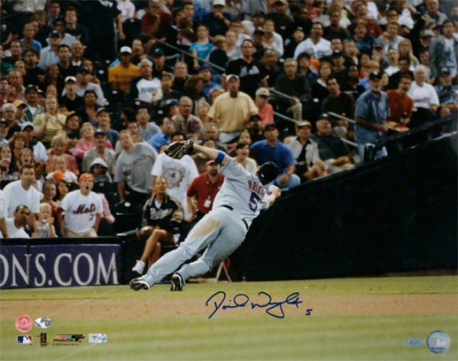 Dafid Wright New York Mets - Bare Handed Catch - Autographed 16x20 Photograph