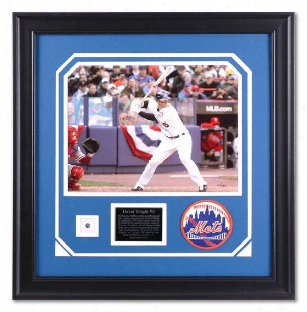 David Wright New York Mets Framed 11x14 Photograph With Game Used Jersey Piece