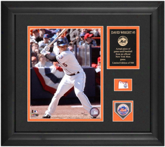 David Wright New York Mets Framed Photograph With Game Used Baseball Gun & Medallion
