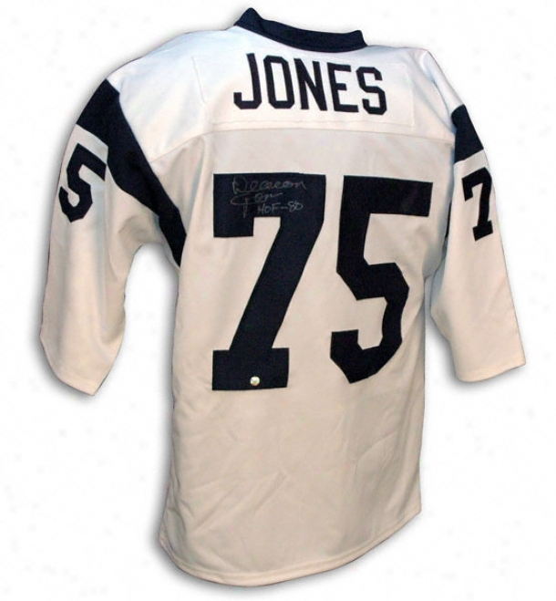 Deacon Jones Los Angeles Rams Autographed Throwback Jersey With Hof 88 Inscription