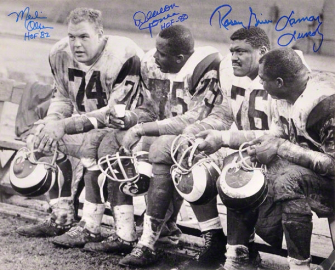 Deacon Jones, Merlin Olsen, Rosey Grier & Lamar uLndy Los Angeles Rams - Fearsome Foursome - Autographed 16x20 Photograph