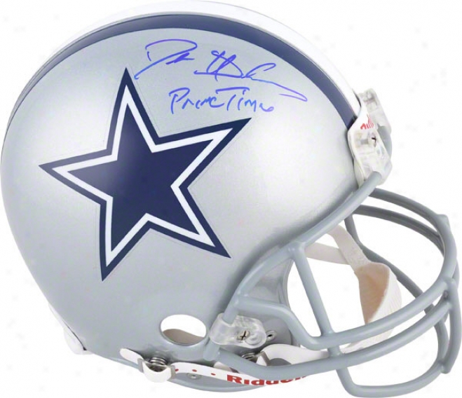 Deion Sanders Autographed Pro-line Helmet  Details: Dallas Cowboys, &quotprimetime&quot Inscriptipn, Authentic Ridde1l Helmet